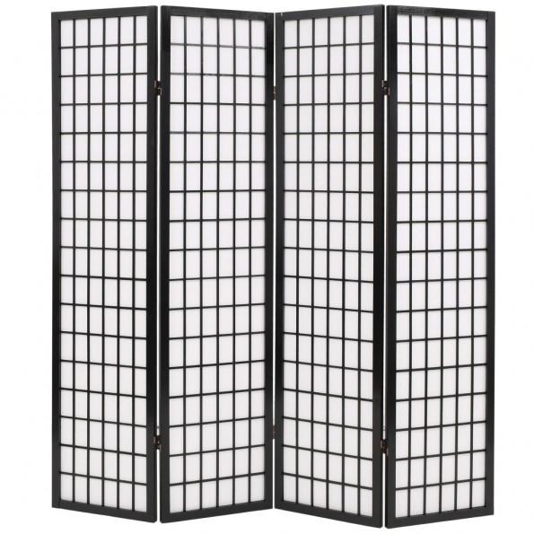 Foldbar 4-panels rumdeler japansk stil 160 x 170 cm sort