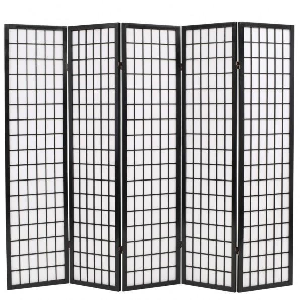 Foldbar 5-panels rumdeler japansk stil 200 x 170 cm sort