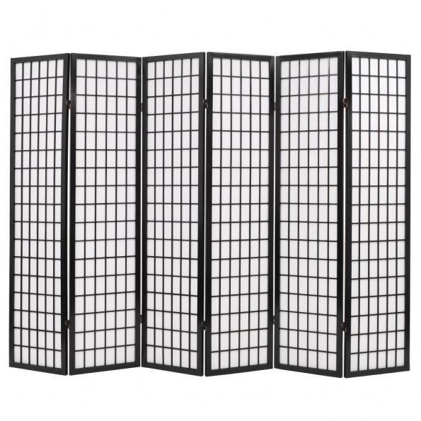 Foldbar 6-panels rumdeler japansk stil 240 x 170 cm sort