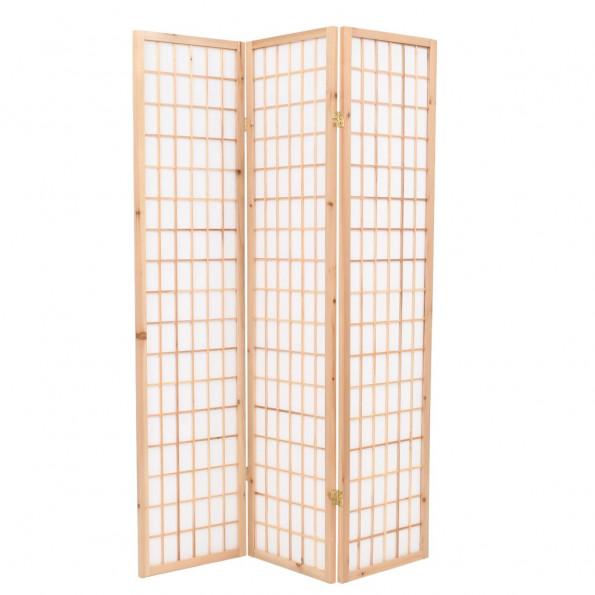 Foldbar 3-panels rumdeler japansk stil 120 x 170 cm naturfarvet