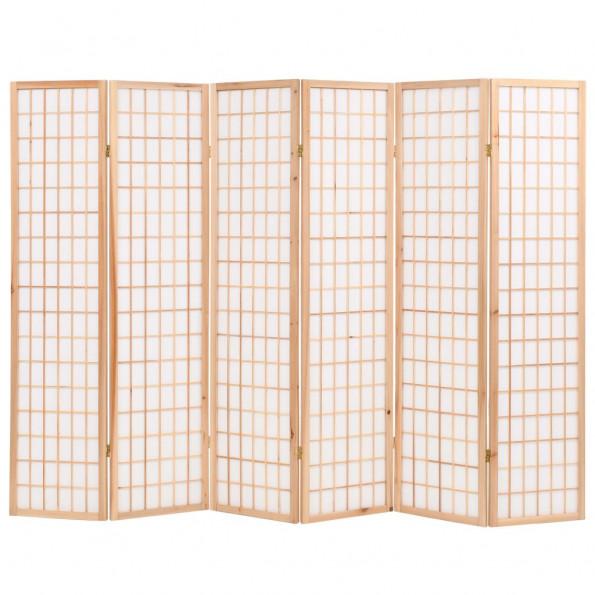 Foldbar 6-panels rumdeler japansk stil 240 x 170 cm naturfarvet
