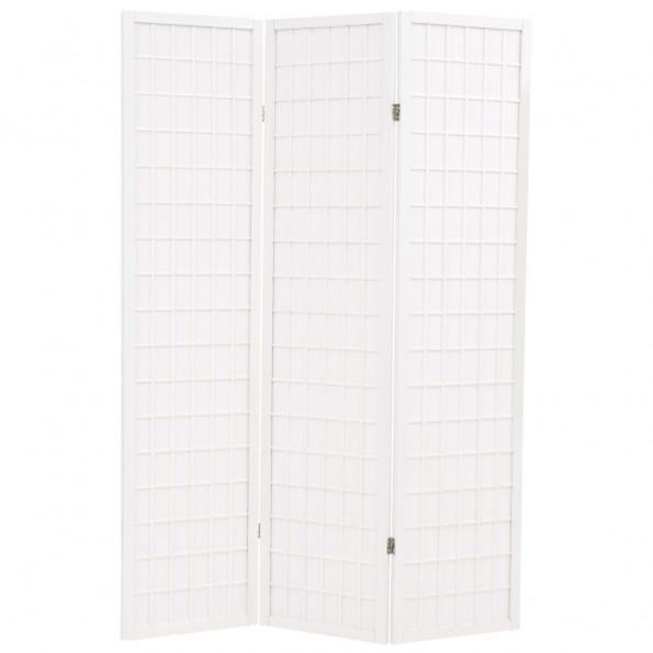 Foldbar 3-panels rumdeler japansk stil 120 x 170 cm hvid