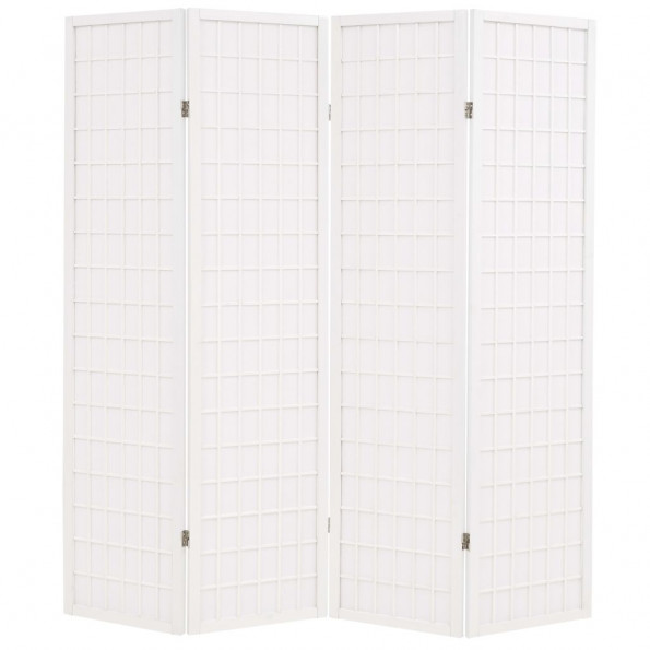 Foldbar 4-panels rumdeler japansk stil 160 x 170 cm hvid