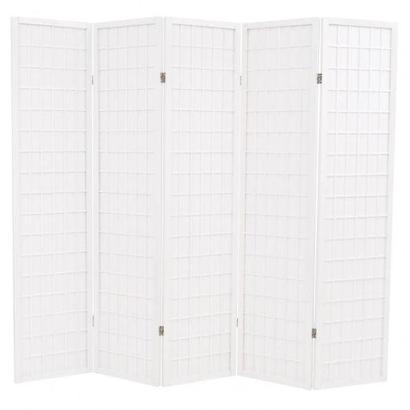 Foldbar 5-panels rumdeler japansk stil 200 x 170 cm hvid