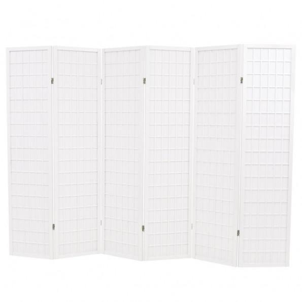 Foldbar 6-panels rumdeler japansk stil 240 x 170 cm hvid