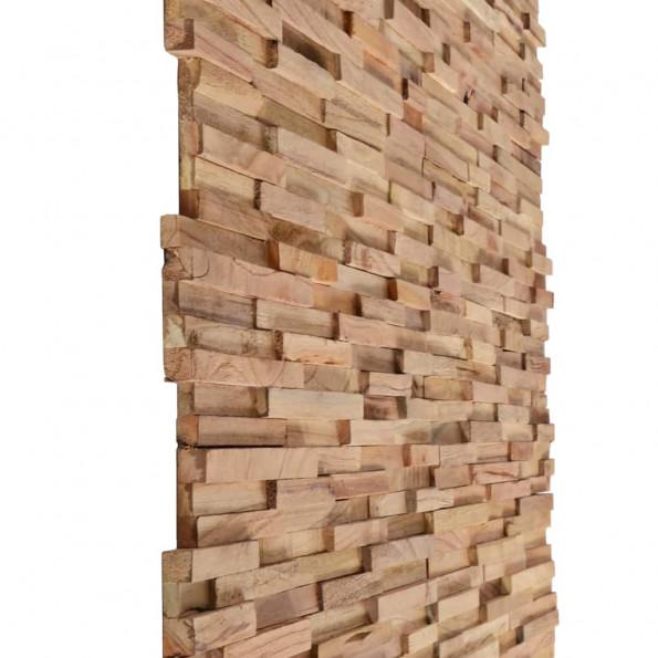 3D-vægbeklædningspaneler 10 stk. massiv teak 1 m²