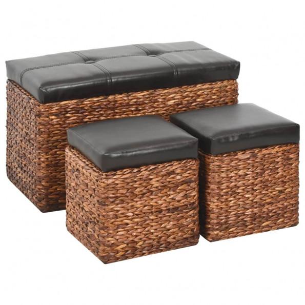 Bænk med 2 ottomaner søgræs brun og sort