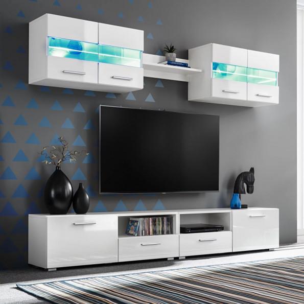 TV-møbelsæt i 5 dele med LED-lys højglans hvid
