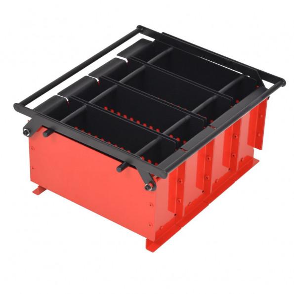 Papirkævle briketformer stål 38 x 31 x 18 cm sort og rød
