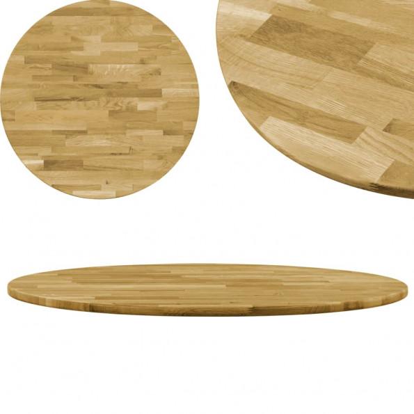Bordplade i massivt egetræ rundt 23 mm 400 mm