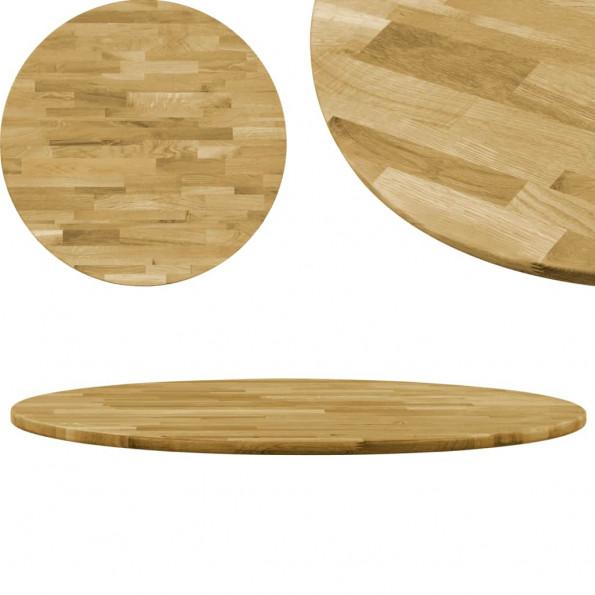 Bordplade i massivt egetræ rundt 23 mm 500 mm