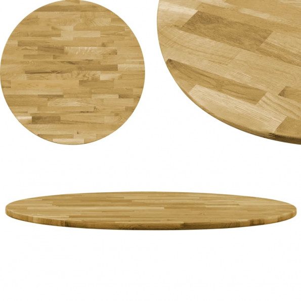 Bordplade i massivt egetræ rund 23 mm 600 mm