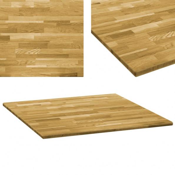 Bordplade massivt egetræ firkantet 23 mm 80 x 80 cm
