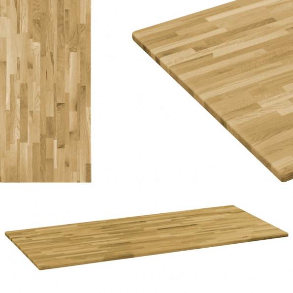 Bordplade i massivt egetræ rektangulært 23 mm 120 x 60 cm
