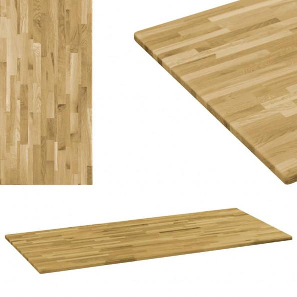 Bordplade i massivt egetræ rektangulært 23 mm 140 x 60 cm