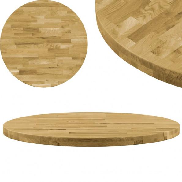 Bordplade i massivt egetræ rund 44 mm 900 mm