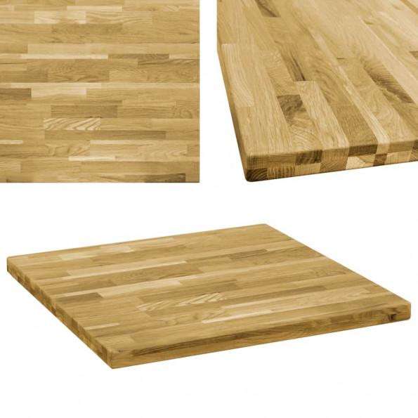 Bordplade massivt egetræ firkantet 44 mm 70 x 70 cm