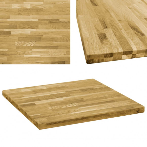 Bordplade massivt egetræ firkantet 44 mm 80 x 80 cm
