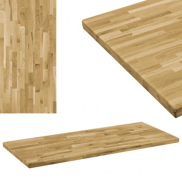 Bordplade i massivt egetræ rektangulært 44 mm 100 x 60 cm