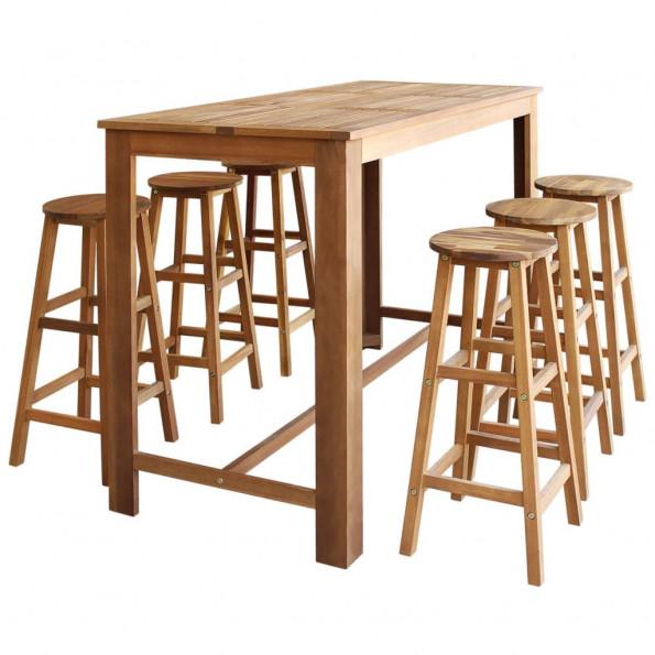 Barbord- og stolesæt i 7 dele massivt akacietræ
