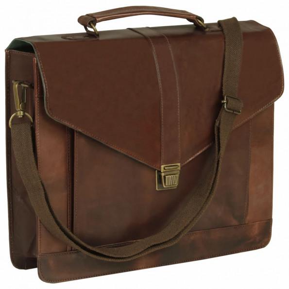 Attachetaske ægte læder brun