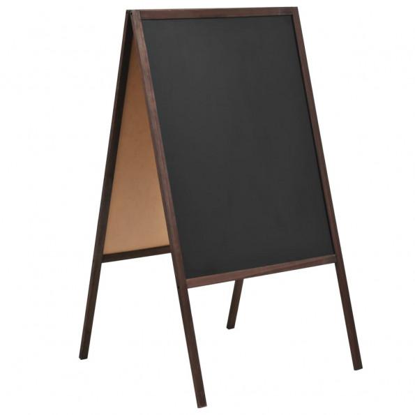 Dobbeltsidet tavle cedertræ fritstående 60 x 80 cm