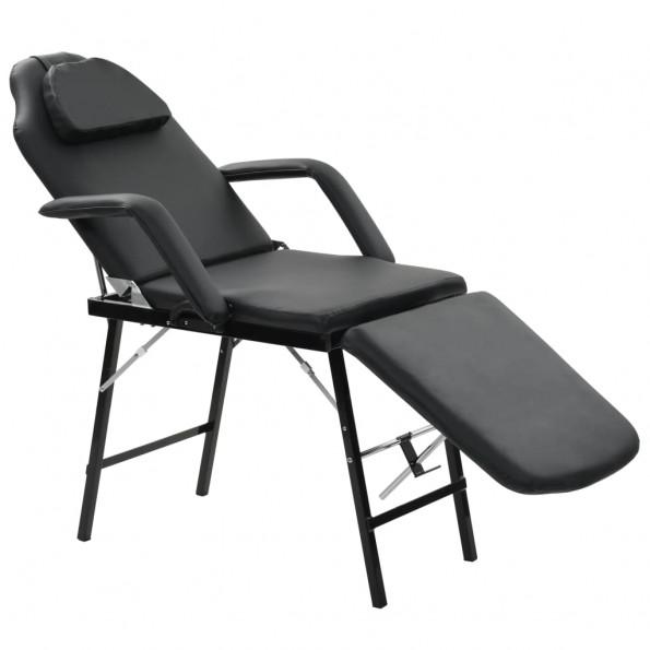 Mobil ansigtsbehandlingsstol kunstlæder 185 x 78 x 76 cm sort