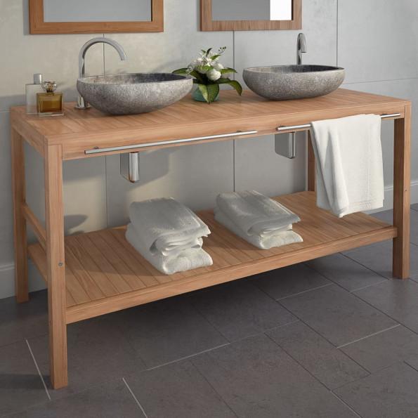 Badeværelsesskab i massivt teak 132 x 45 x 75 cm
