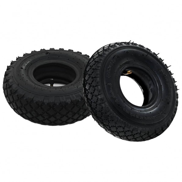 2 dæk 2 indvendige rør 3.00-4 260 x 85 sækkevognshjul gummi