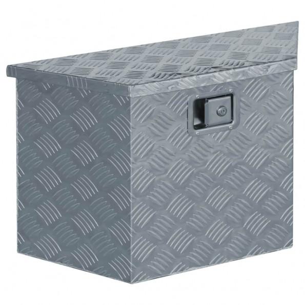 Aluminiumskasse 70 x 24 x 42 cm trapezformet sølvfarvet