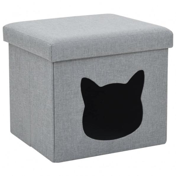 Foldbar katteseng imiteret linned 37 x 33 x 33 cm grå