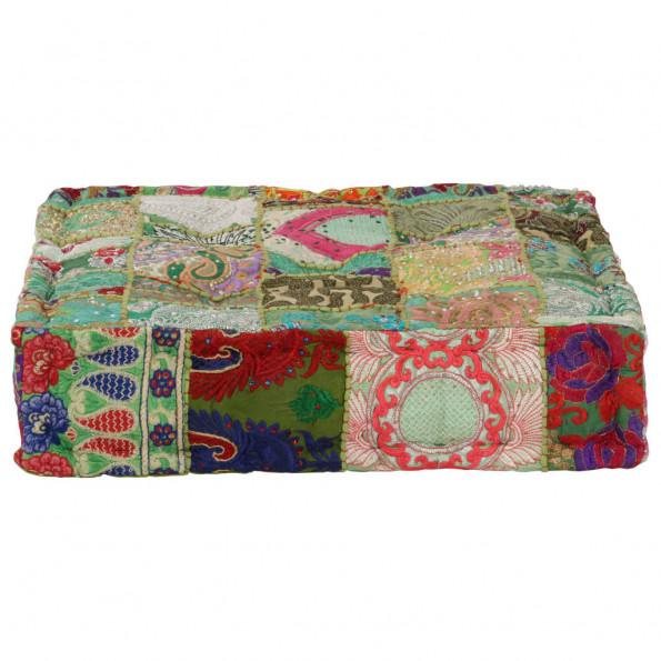 Puffe med patchwork firkantet bomuld håndlavet 50 x 50 x 12 cm grøn