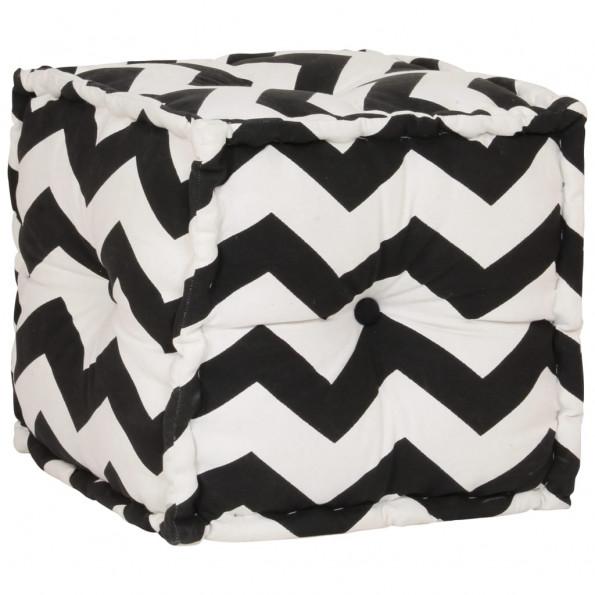 Kubeformet puffe med mønster håndlavet 40 x 40 cm sort/hvid