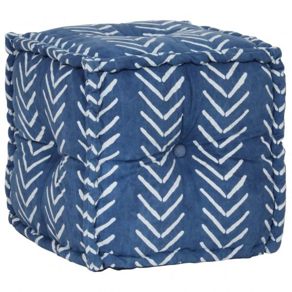Kubeformet puffe bomuld med mønster håndlavet 40 x 40 cm indigo