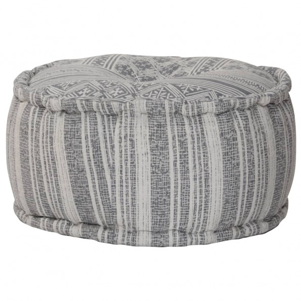Håndlavet puf med mønster grå 50 x 25 cm bomuld