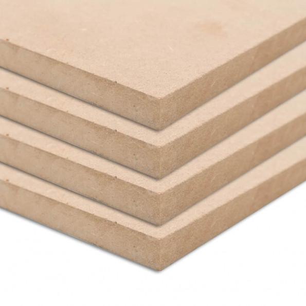 MDF-plader 4 stk. rektangulær 120 x 60 cm 12 mm