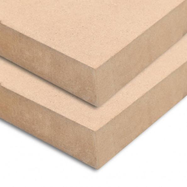 MDF-plader 2 stk. rektangulær 120 x 60 cm 25 mm
