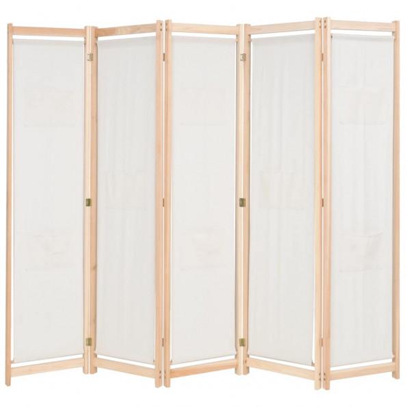5-panels rumdeler 200 x 170 x 4 cm stof cremefarvet