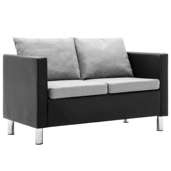2-personers sofa kunstlæder sort og lysegrå