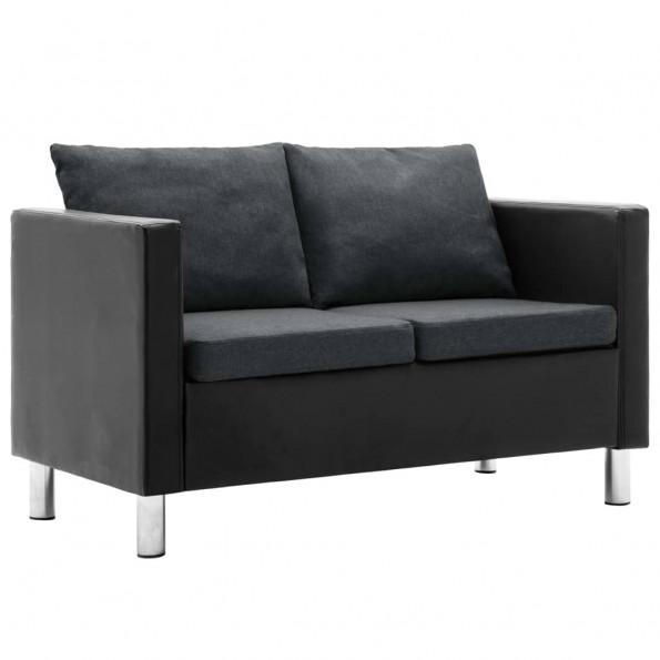 2-personers sofa kunstlæder sort og mørkegrå