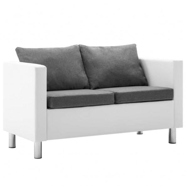 2-personers sofa kunstlæder hvid og lysegrå
