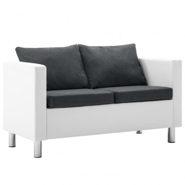 2-personers sofa kunstlæder hvid og mørkegrå