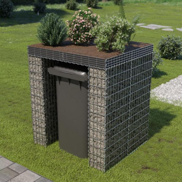 Gabionvæg affaldsspand galvaniseret stål 110 x 100 x 130 cm