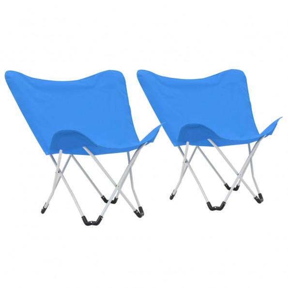 Campingstole sommerfugl 2 stk. foldbar blå