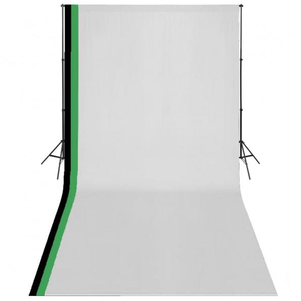 Studieudstyr 3 fotobaggrunde i bomuld justerbart stel 3 x 6 m