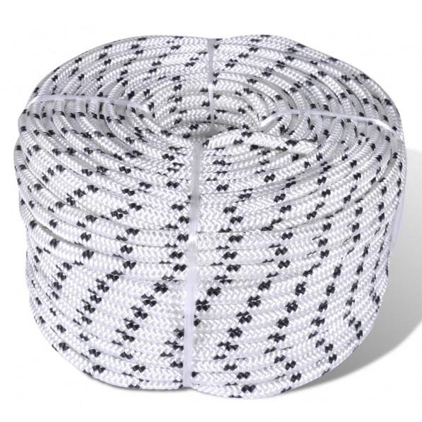 Flettet bådreb polyester 8 mm 500 m hvid