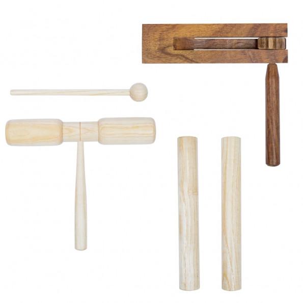 Perkussionsæt i 3 dele træ