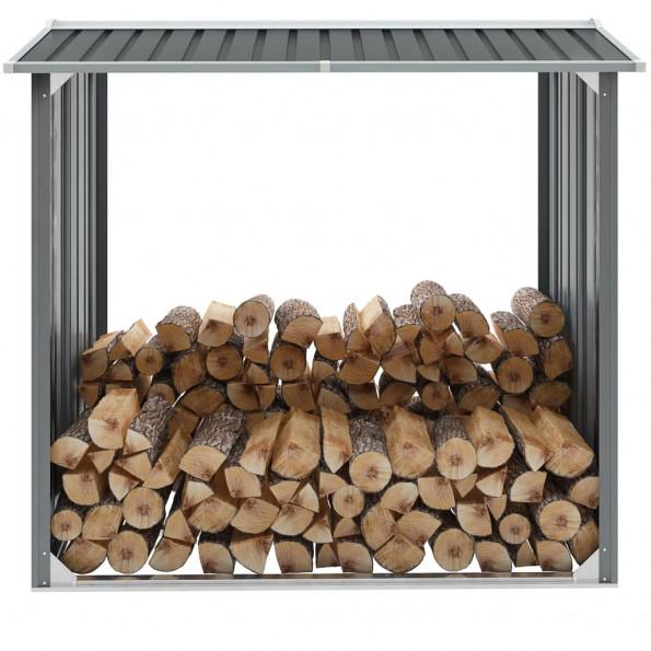 Brændeskur til haven galvaniseret stål 172 x 91 x 154 cm grå