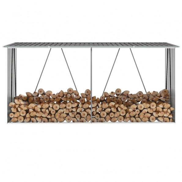 Brændeskur til haven galvaniseret stål 330 x 84 x 152 cm grå