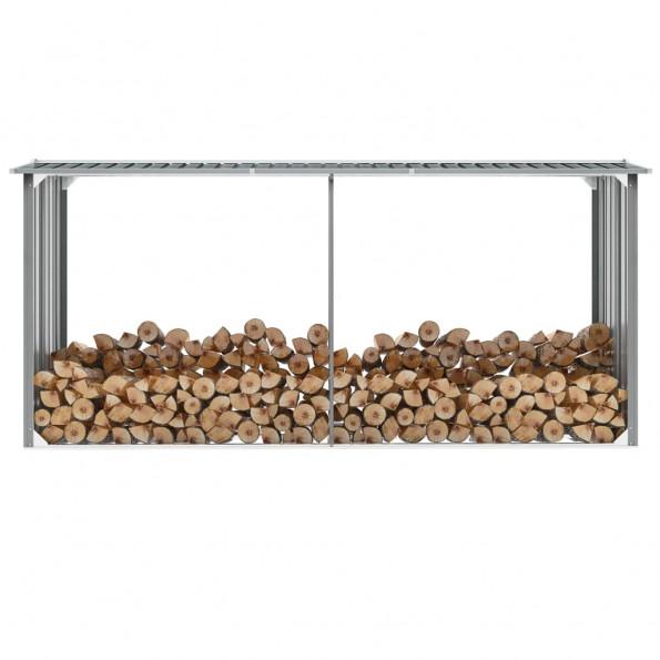 Brændeskur til haven galvaniseret stål 330 x 92 x 153 cm grå